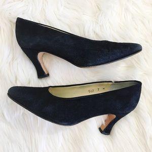Vintage Evan Picone Black Suede Pointy Heels